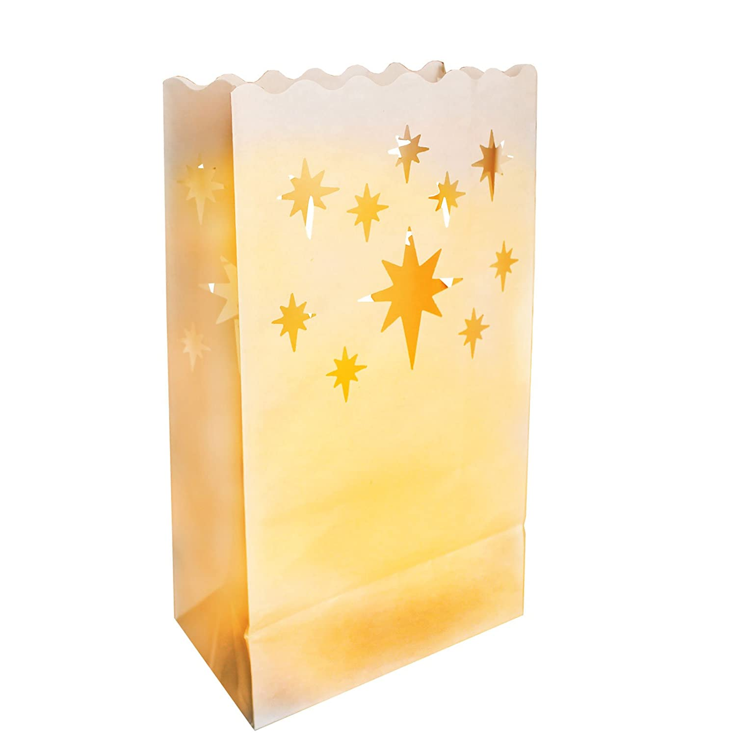10 Pack Large star Design white paper of decorative Luminary Bags-candle Lanterns light- perfect for indoor and outdoor use. Kurtzy CB-504