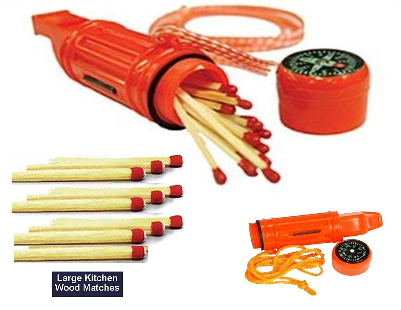 EDOG (2) Two 6 N 1 Emergency Blaze Orange Survival Whistle & 10+ Hand Stuffed Large Kitchen Wood Matches | Compass | Waterproof Match Holder | Signal Mirror | Lanyard (2) by EDOG