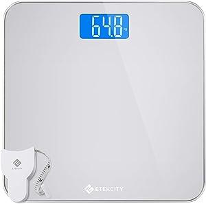 Balance numérique Balance Pèse-personne Pèse-personne Pèse-personne Pèse-personne en verre de sécurité, 5kg à 180 kg, design d'angle rond, avec grand écran LCD