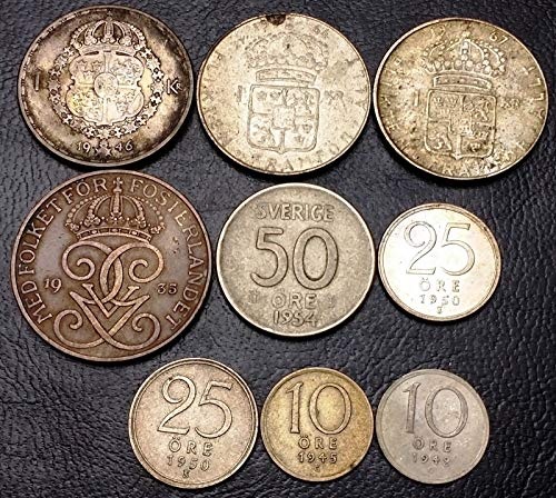 Krona Coin - LOT OF 9X SWEDEN COINS (8 SILVER) DATE RANGE 1935 1967 5 50 ORE, 1 KRONA