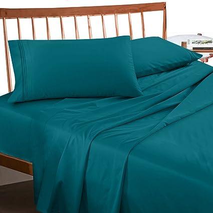 Premium Split King Sheets Set   Teal Turquoise Hotel Luxury 5 Piece Bed Set,