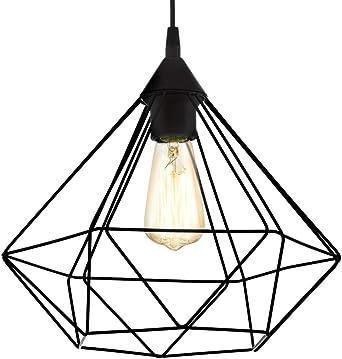 Hängelampe Pendel Lampenschirm Draht Vintage Hängeleuchte weiß mit Filament LED