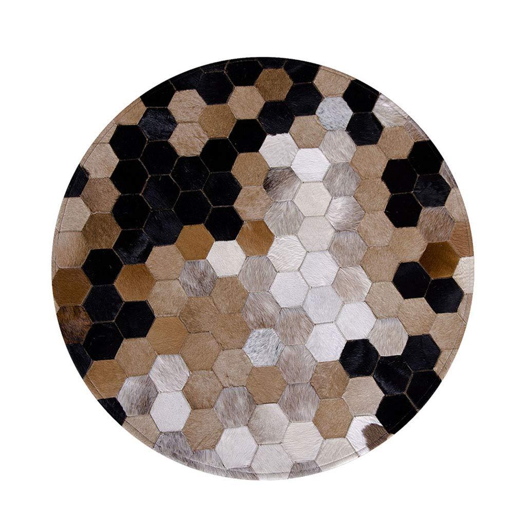 ラグカーペット カーペット寝室ステッチングベッドサイドブランケット リビングルームラウンド黒と白の牛革カーペット 家の手のカーペットの床マット ラグカーペット (Color : Brown, Size : 160*160*0.8cm) 160*160*0.8cm Brown B07KXPGP22
