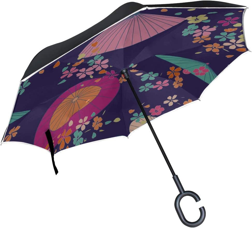 Double Layer Inverted Inverted Umbrella Is Light And Sturdy Japanese Traditional Sakura Umbrella Reverse Umbrella And Windproof Umbrella Edge Night R