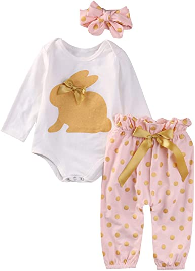 Winter Newborn Infant Baby Boy Girl Long Sleeve Romper Tops+Dot Pants+Headband