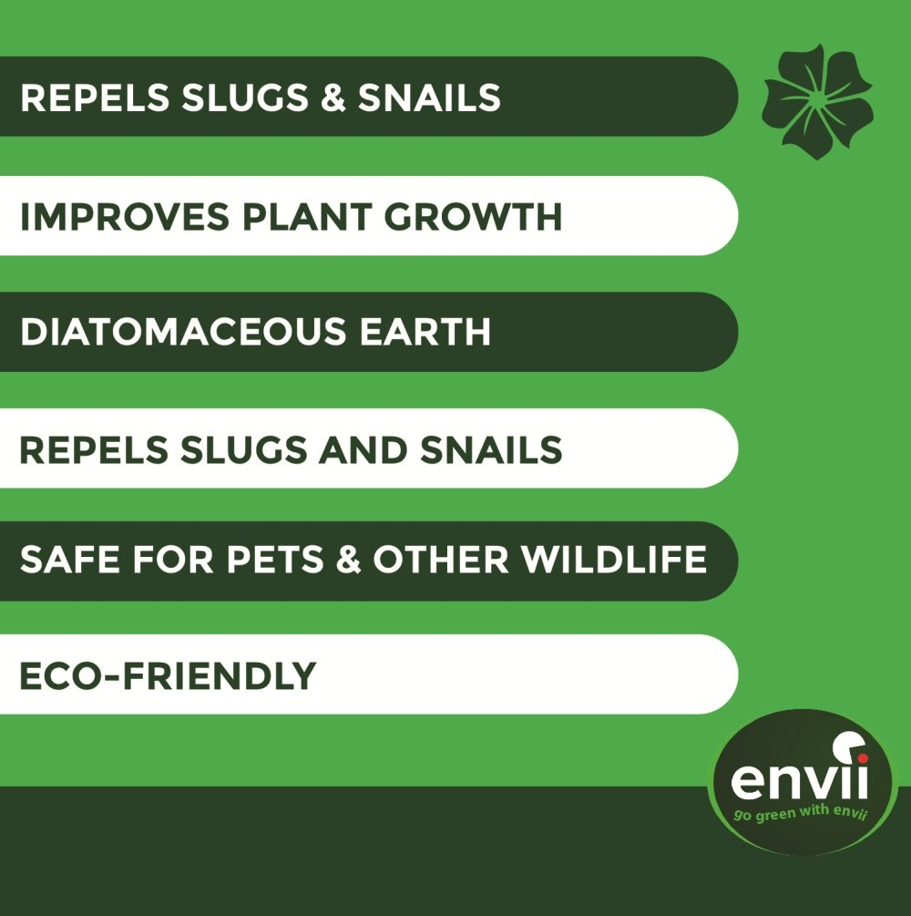 Envii Feed & Fortify – Pet Friendly Slug Repellent Creates An Organic Barrier Whilst Improving Plant Growth - 1.75kg Bio8