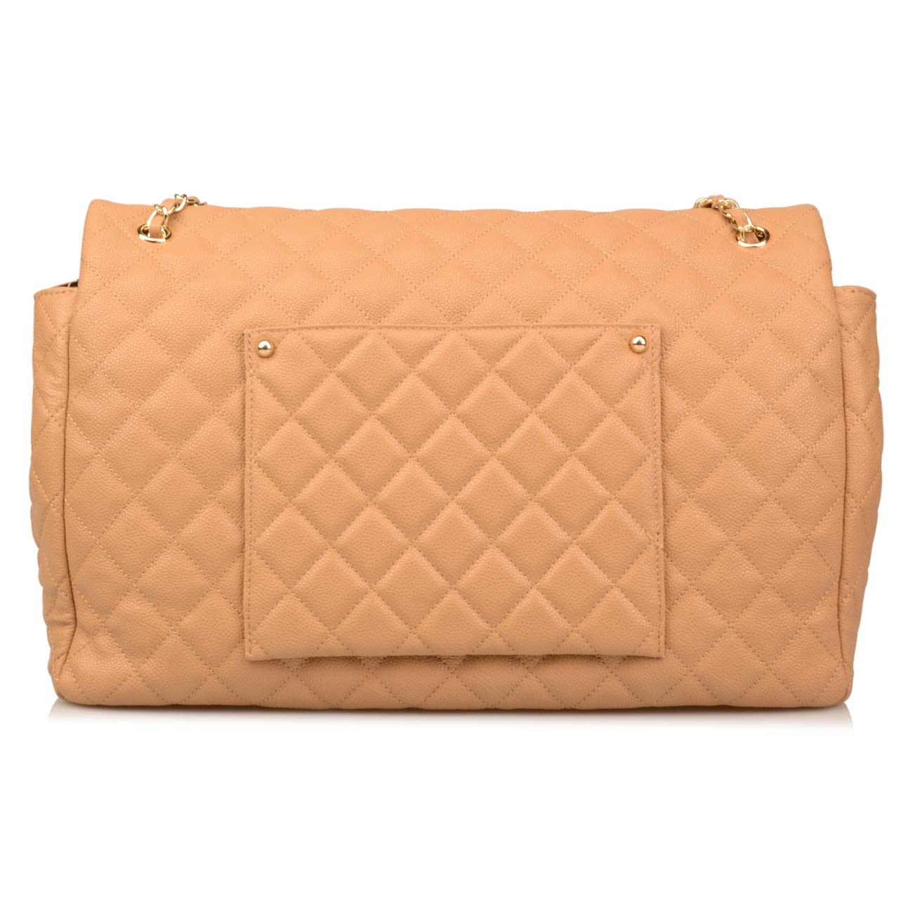 Ainifeel Women's Genuine Leather Oversize Quilted Flap Handbag Large Travelling Tote Bag Luggage Holdall (Oversize, Apricot (gold hardware)) by Ainifeel Quilted&Chain Strap Collection (Image #4)