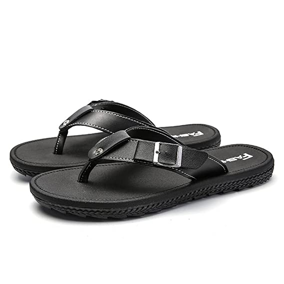 823d0b19e57 Amazon.com  MUMUWU Mens Slipper British Fashion Flip Flop Sandals With  Metal Buttons up to Size 10MUS Sandals  Clothing