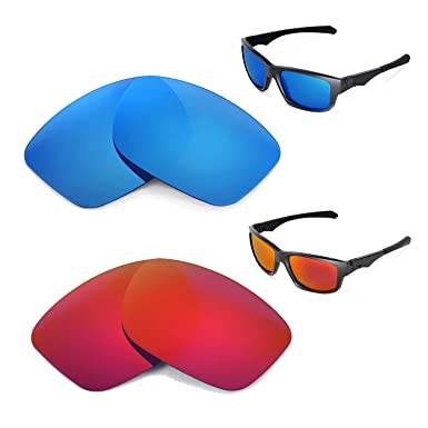 6b39229198 Image Unavailable. Image not available for. Color  Walleva Polarized Fire  Red+Ice Blue Replacement Lenses For Oakley Jupiter Squared