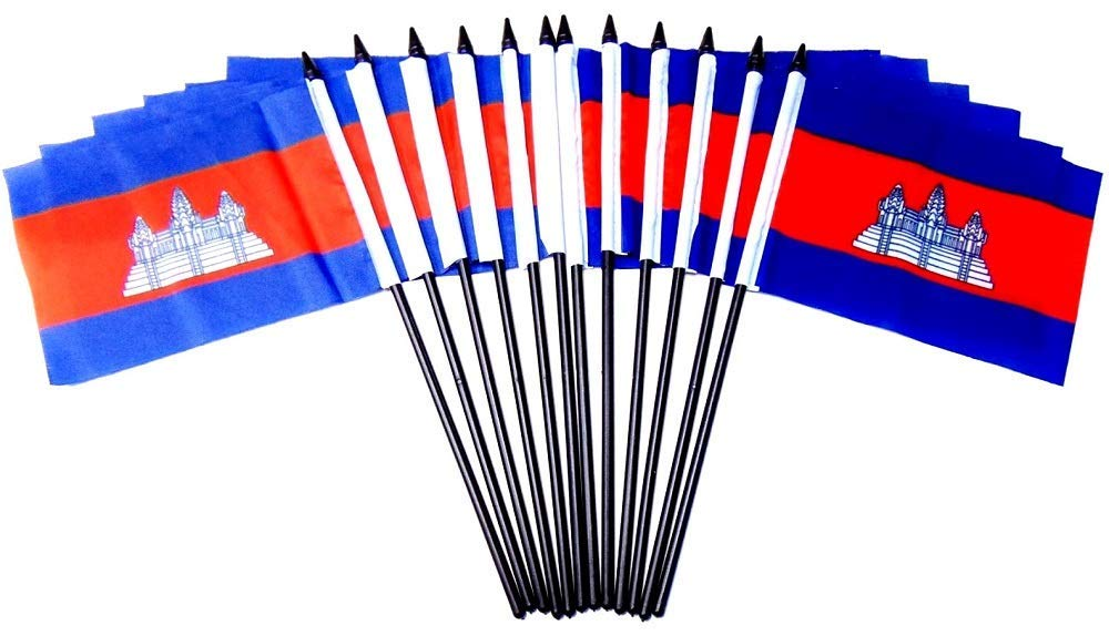 Wholesale Box of 144 4''x6'' Cambodia Polyester Miniature Desk & Little Table Flags, 12 Dozen 4''x 6'' Cambodian Small Mini Handheld Waving Stick Flag by World Flags Direct