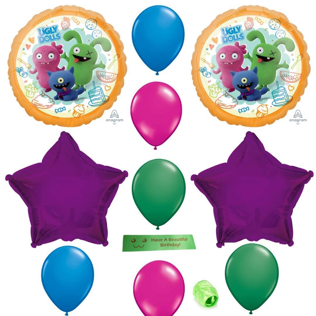 Ugly Dolls バルーン 誕生日パーティーセット リボンのプリント付き   B07RZDR29C