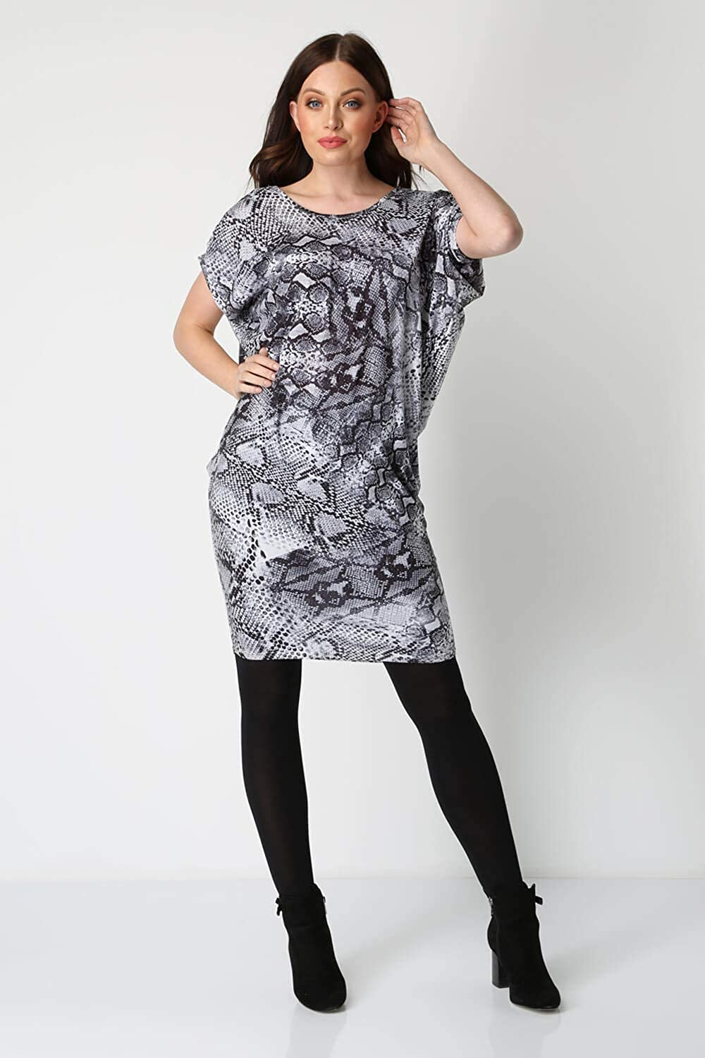 b30586939c Roman Originals Women Snake Print Slouch Dress - Ladies Smart Casual  Daywear Day Outfit Work Office Short Sleeve Knee Length Soft Jersey Dresses   ...
