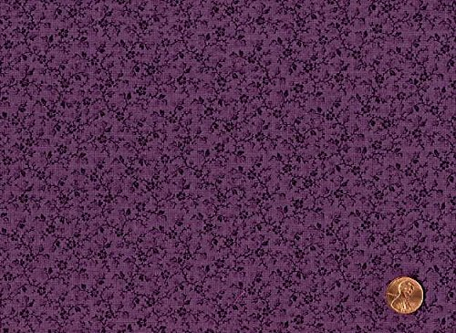 (Dark Plum Tonal Calico Cotton Fabric - 1 Yard Piece)