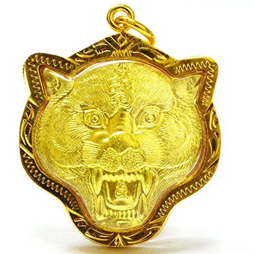 Thailand Tiger Amulets Fighter Tiger Pendants Lp Pern,Life Protection (Glass Sabertooth)