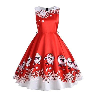 feb527f133c7f Women Christmas Dress Ladies Xmas Santa Claus Print Dress Women Sexy  Sleeveless Dress Hepburn Dress Ball Gown Dress Plus Size S-2XL   Amazon.co.uk  Clothing