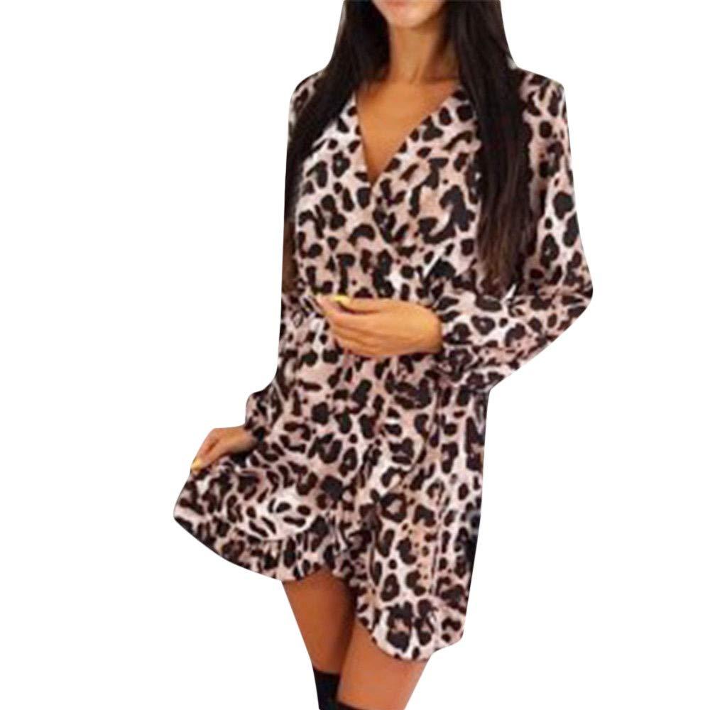 ITISME Robe Femme /Él/égante irr/éguli/ère /à Manches Longues Imprim/éE L/éopard Longue Section De Mode Automne Hiver Chic