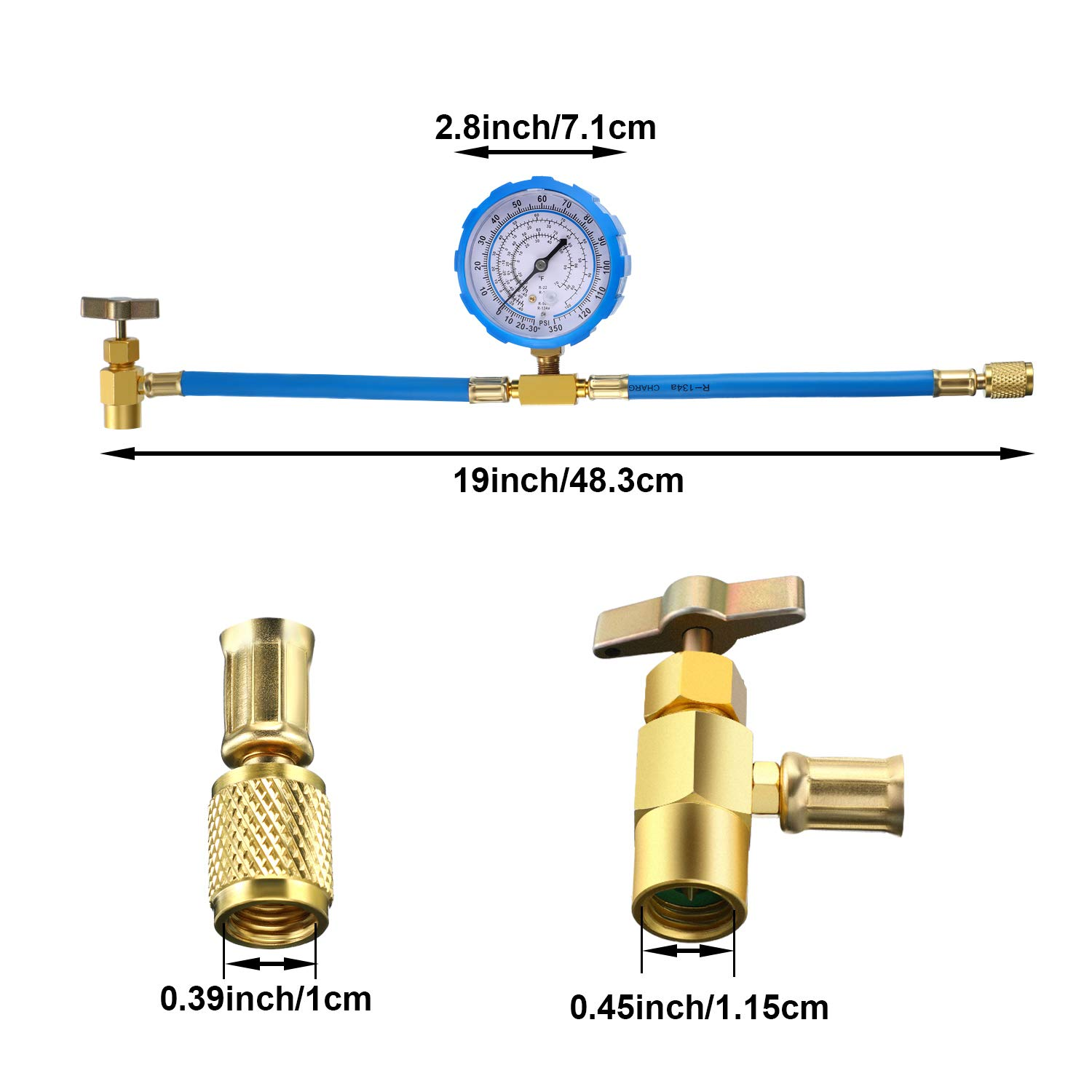 2 Pack BPV31 Bullet Piercing Tap Valve Kits Compatible with 1//4 3//8 Inch Outer Diameter Pipes and R134A Air Conditioning Refrigerant Charging Hose with Gauge 5//16 Connect to R12// R22 Port Only