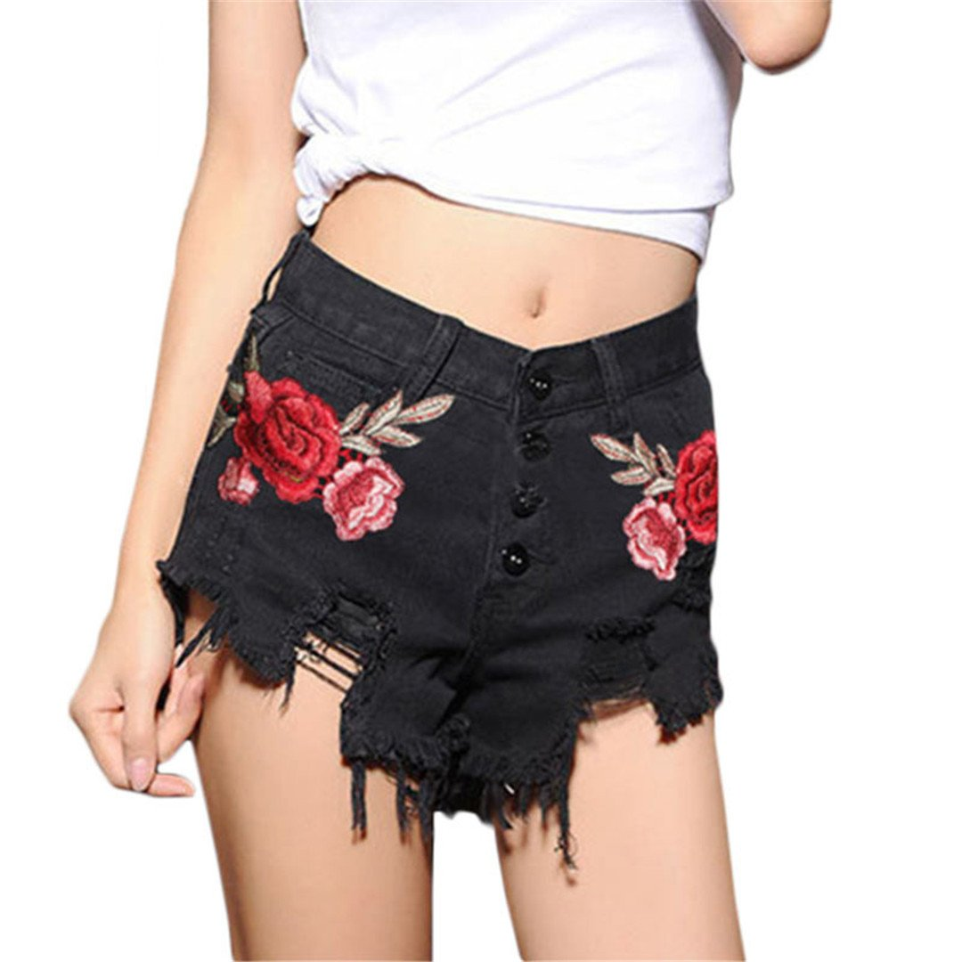 A-sringzone Summer Black Ripped Rose Embroidery Women Denim Shorts