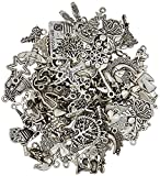 Wholesale Bulk Lots Jewelry Making Silver Charms Mixed Smooth Tibetan Silver Metal Charms Pendants DIY for Necklace Bracelet Jewelry Making and Crafting (100Pcs)