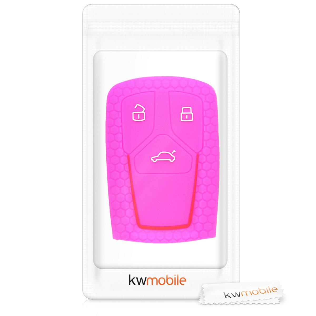 kwmobile Autoschl/üssel H/ülle f/ür Audi Schwarz nur Keyless Go Silikon Schutzh/ülle Schl/üsselh/ülle Cover f/ür Audi 3-Tasten Smartkey Autoschl/üssel
