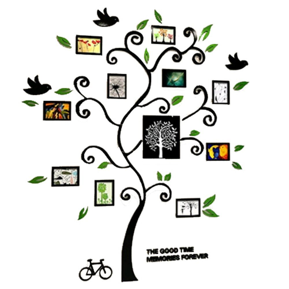 Alicemall Tree Wall Stickers Family Hope Tree of Life Black 3D Wall Decals Photo Frame Acrylic Decorative Wall Sticker Wall Art, 57 x 69 inch (Black) by Alicemall (Image #3)