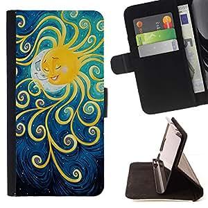 Momo Phone Case / Flip Funda de Cuero Case Cover - Pintura Luna Kids sueño de la noche - Huawei Ascend P8 (Not for P8 Lite)