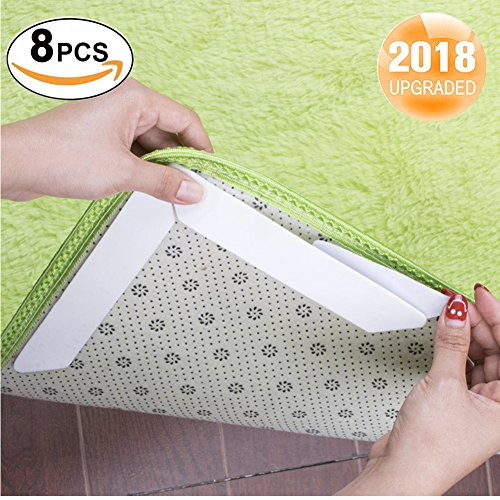 Rug Grippers, Yowao 8 PCS Anti Curling Non Slip Keep Your Rugs in Place & Makes Corners Flat, Double Sided Tape Work for Indoor & Outdoor Carpet Mat, Rug Slip Grip ()