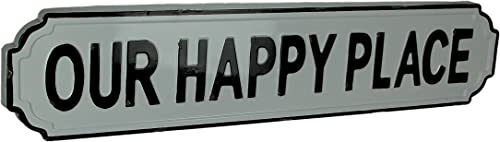 Mayrich Black and White Enamel Metal Art Happy Place Wall Sign
