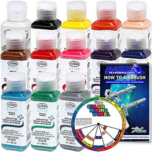 TESTORS - AZTEK Premium OPAQUE Acrylic Airbrush Paint 13-Color Set with FREE Color Wheel & How to Airbrush Manual (Testors Kits Airbrush)