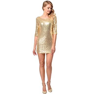 5108b731e11de Azer Women Formal Half-Sleeve Dress for Wedding Guest Women Short Summer  Dresses Gold  Amazon.co.uk  Clothing
