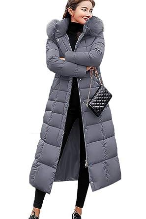Langer damen wintermantel mit kapuze