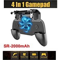 SaleOn™ 4 in 1 Mobile Phone Gaming Gamepad Joystick Controller Trigger Fires Button Power Bank Cooler Fan for PUBG(Black)