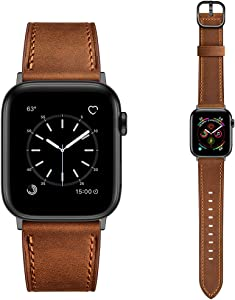 Dilando Leather Band Compatible with Apple Watch Series 6 38mm 40mm 42mm 44mm Genuine Leather Vintage Designer Strap Classic Bracelet Buckle for iWatch SE 5 4 3 2 1 Women Men Retro Brown 38mm 40mm