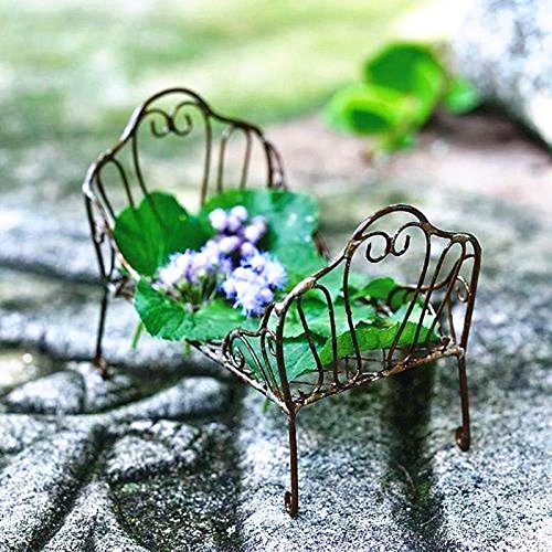 Miniature Fairy Garden Antiqued Metal Daybed - My Mini Garden Dollhouse Accessories for Outdoor or House (Metal Painted Daybed)