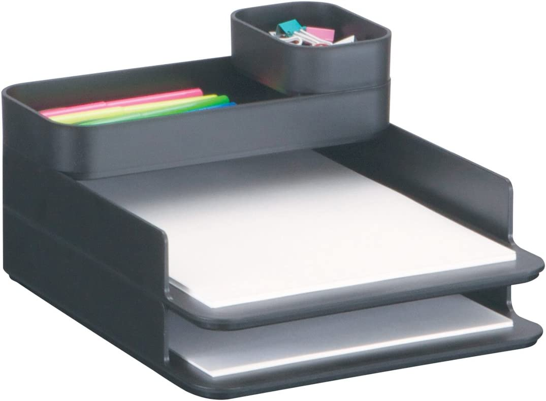 Safco Products 3285BL Stacking Plastic Desktop Sorter Set, Black
