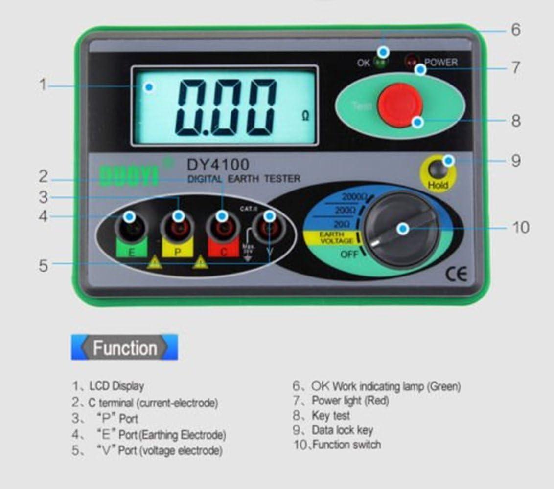 Jian Ya Na DY4100 Digital Earth Tester r/ésistance de mise /à la terre compteur de mise /à terre mesureur num/érique de r/ésistance de terre test de protection contre la foudre