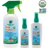 Greenerways Organic, Insect Repellent, Bug Spray, Premium, USDA Organic, Non-GMO, Mosquito-Repellent, Clothing Safe, Kid Safe, Pet Safe, Baby Repellant, DEET FREE, 3-PACK DEAL (1) 2oz (1) 4oz (1) 16oz