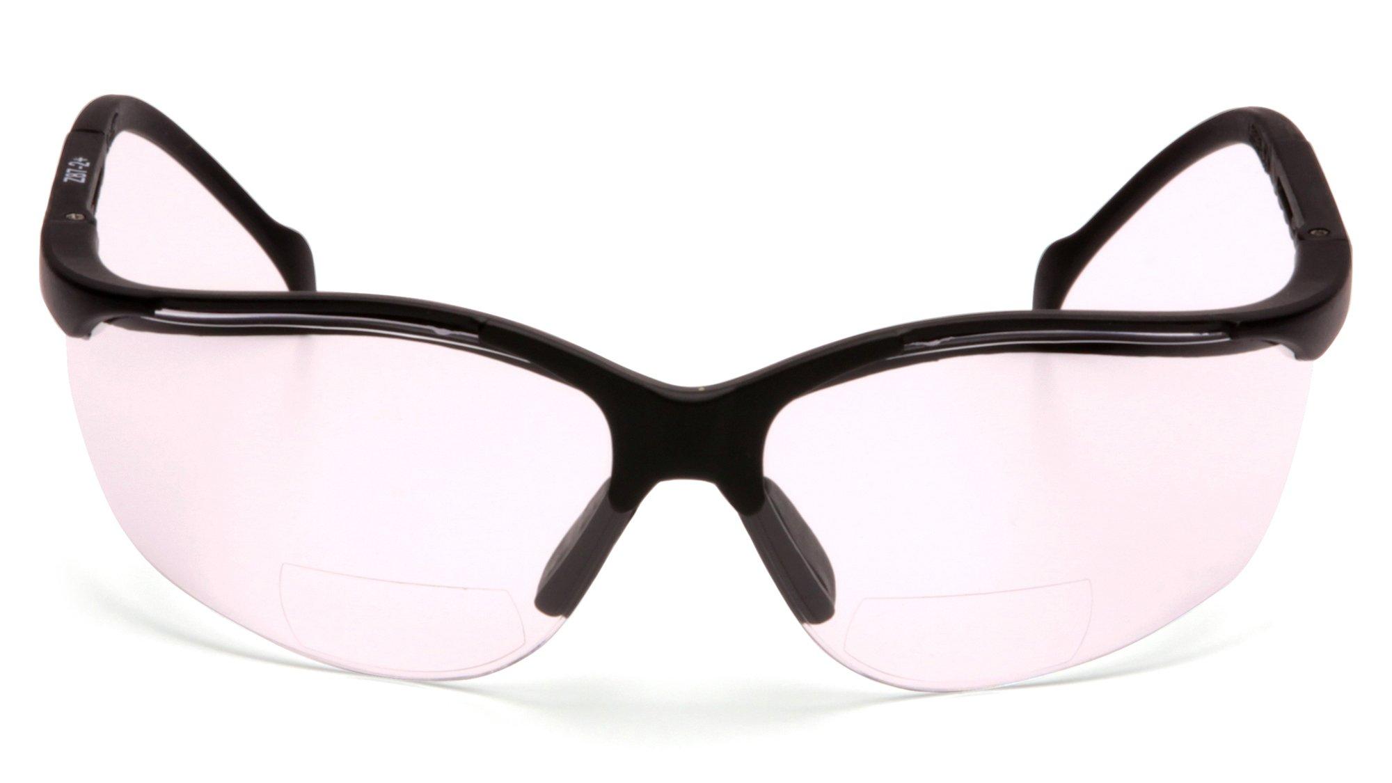 Pyramex SB1810R20T Venture II Readers Safety Glasses, Clear + 2.0 Anti-Fog Lens, Black