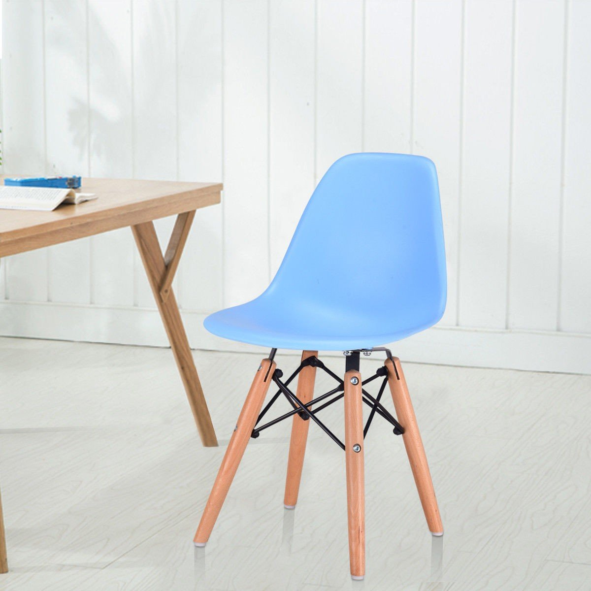 Custpromo Kids White Dining Chairs Mid Century Shell Chair Wooden Legs Armless Chairs (Navy)