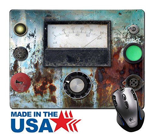 """MSD Natural Rubber Mouse Pad/Mat with Stitched Edges 9.8"""" x 7.9"""" old weathered vintage ampere meter panel IMAGE 30619725"""