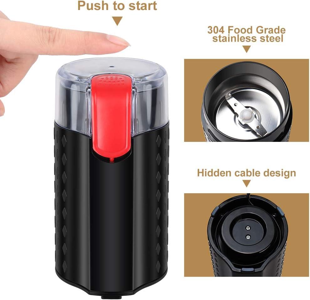 N/üsse und K/örner One-Touch Kaffeem/ühle f/ür Bohnen Kaffeem/ühle elektrisch Edelstahl Messerm/ühle Gew/ürze Reinigungsb/ürste enthalten
