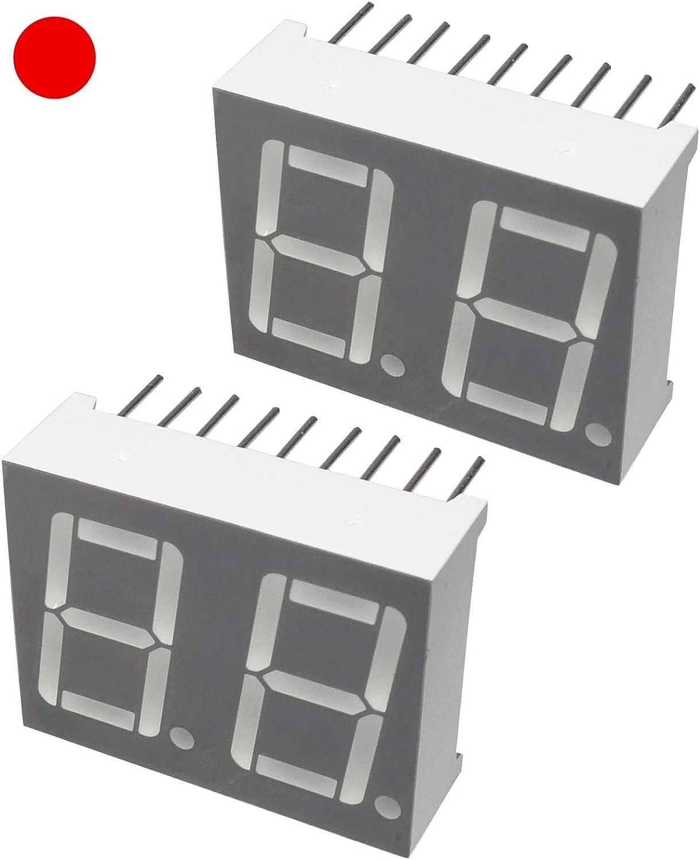 Display digitale Pannelli luminosi Rosso Set di 2 19x25mm LED 7 segmenti Modulo C46118 Numero cifre 2 THT Schermo AERZETIX