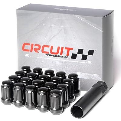 Circuit Performance Spline Drive Tuner Acorn Lug Nuts Black 12x1.25 Forged Steel (20pc + Tool): Automotive