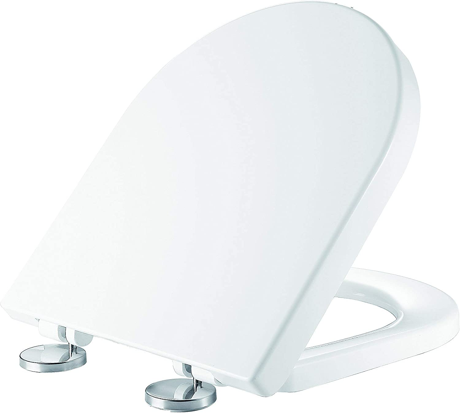 Ultra White D Shaped Toilet Seat Anctibacterial Duroplast Quick Release Toilet Seat Soft Close Toilet Seat - D Shape Toilet Seats Soft Close Heavy Duty Toilet Seat Top Fixing Soft-Close Loo Seat UF811