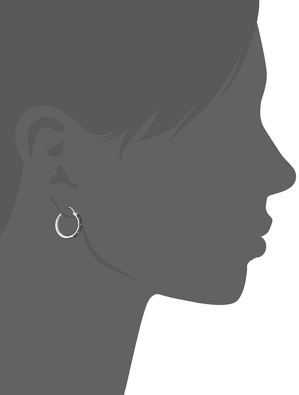 Sterling Silver and Blue Diamond Hoop Earrings 1 10 cttw