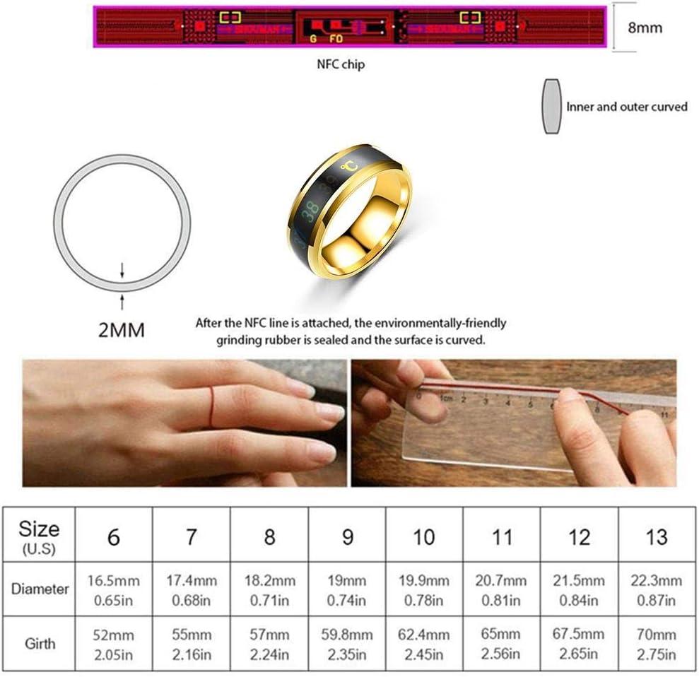 medidor de Temperatura Creativa para Pareja Anillo de joyer/ía 6 tama/ño 6 /– 13 Anillo de Acero de Titanio de Temperatura Inteligente FOONEE Anillos de Moda para Hombre