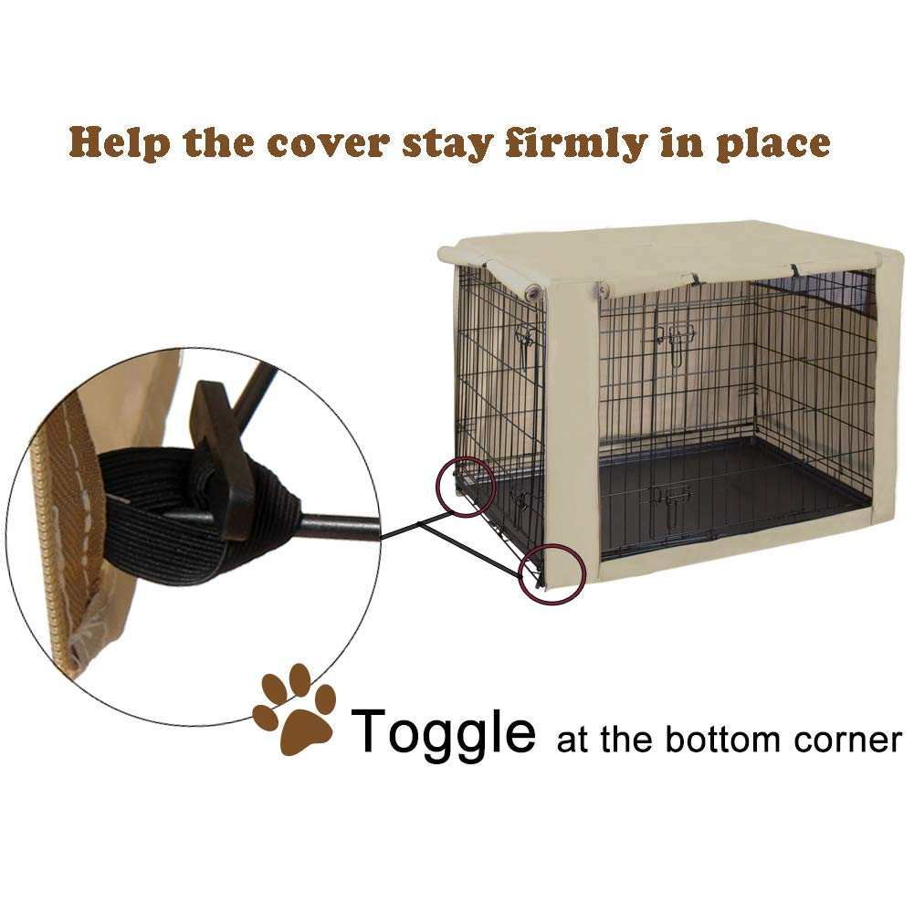 HiCaptain Polyester Dog Crate Cover, Durable Windproof Pet Kennel Cover Provided for Wire Crate Indoor Outdoor Protection (42 Inch, Tan) by HiCaptain (Image #3)