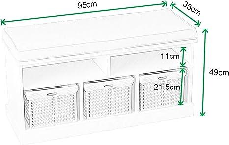 o el lavadero Marr/ón DlandHome Banco de Almacenamiento con cestas Tejidas//Cajas de Almacenamiento extra/íbles para Entrada//Pasillo//Sala de Estar//Dormitorio