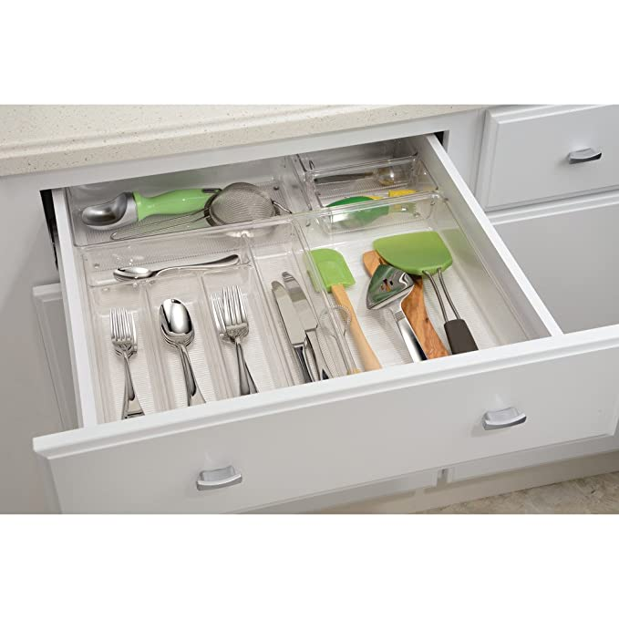 InterDesign Linus Organizador de cajones, cubertero para cajones de cocina grande en plástico para guardar cubiertos y otros utensilios, ...