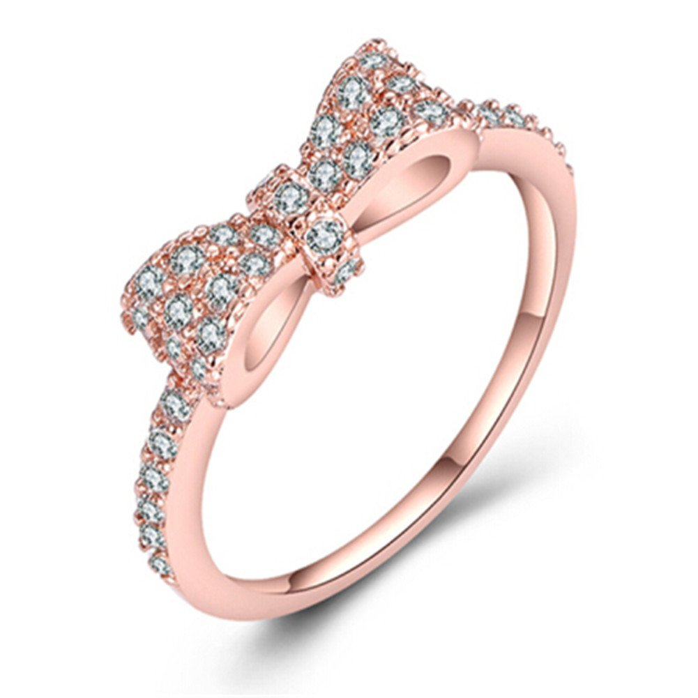 LOVFASHION Cute Bow Knot Ring Diamond Engagement Rings for Women Girls, size 7
